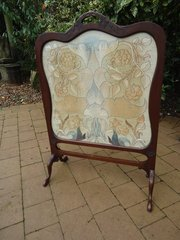 Arts & Crafts Walnut embroidery  screen