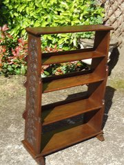 Arts & Crafts Waterfall bookcase with carved sides