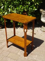 Arts & Crafts two tiered lamp table in ash