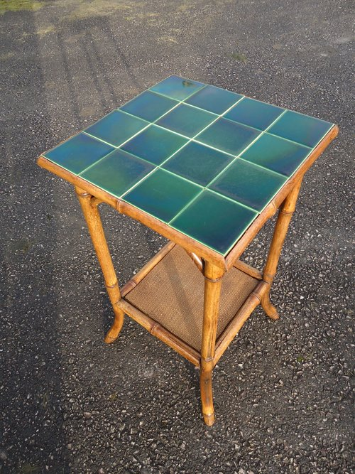 Arts & Crafts bamboo  tiled top table