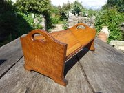 Arts & Crafts book trough with chequered inlay