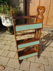 Arts & Crafts book stand with embroidery panels