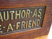Arts & Crafts bookstand with motto
