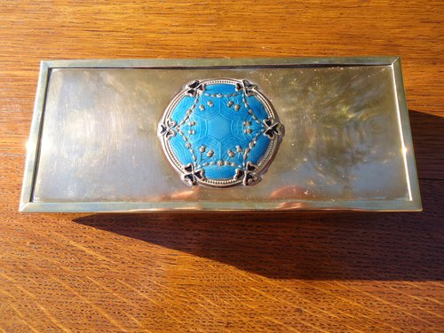 Arts & Crafts brass box with enamel cabochon