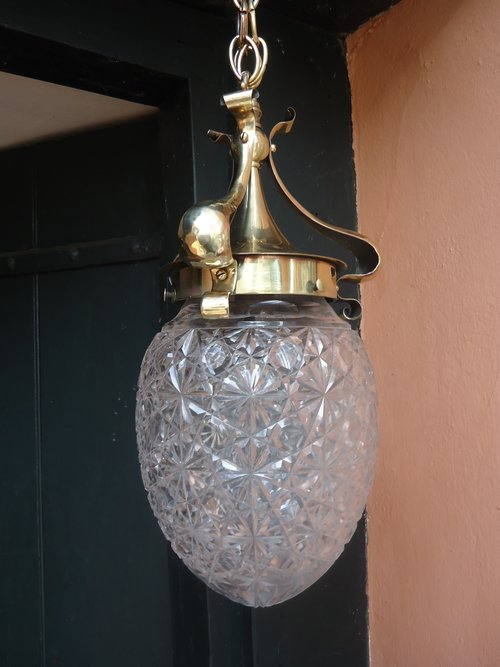 Arts & Crafts brass centre light with glass shade