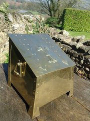 Arts & Crafts brass coal box with strap overlay