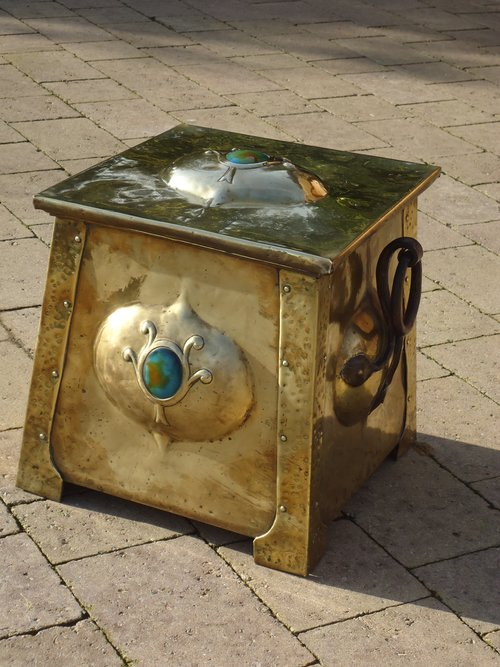 Arts & Crafts brass coal box with cabochons