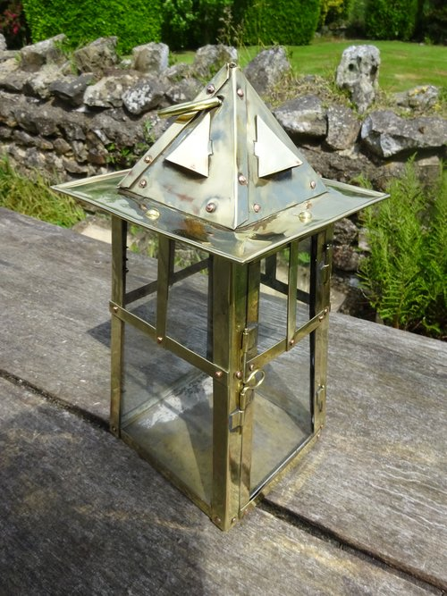 Arts & Crafts brass hanging lantern