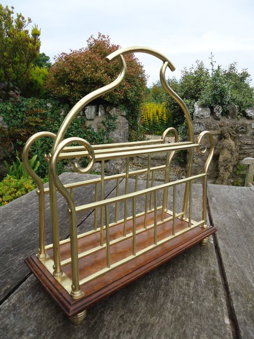 Arts & Crafts brass magazine rack
