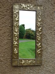 Arts & Crafts brass hall mirror