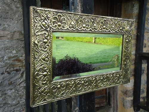 Arts & Crafts brass mirror or overmantle