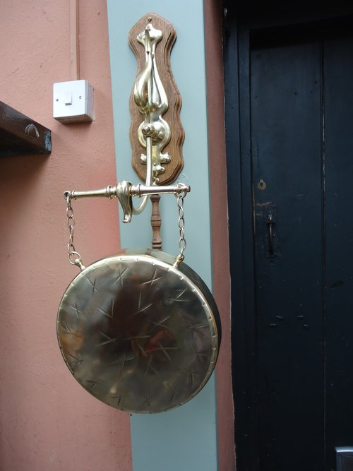 Arts & Crafts brass wall dinner gong