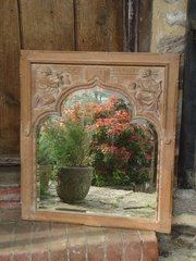 Arts & Crafts carved oak mirror