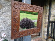 Arts & Crafts carved oak mirror - Simpson