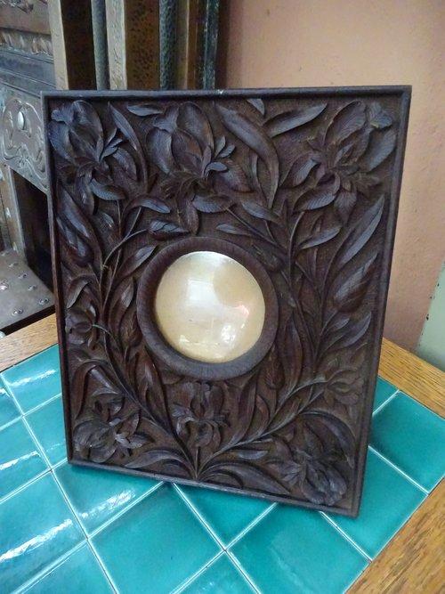 Arts & Crafts carved oak photo frame