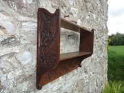 Arts & Crafts carved oak shelves with squirrels