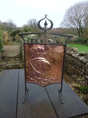 Arts & Crafts copper Fire Screen with galleon