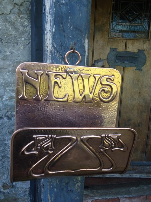 Arts & Crafts copper  Newlyn school news holder