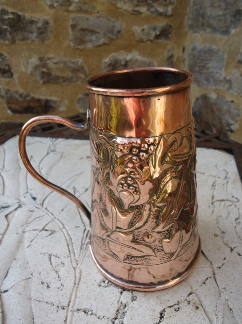 Arts & Crafts copper  vase with handle - Yattendon