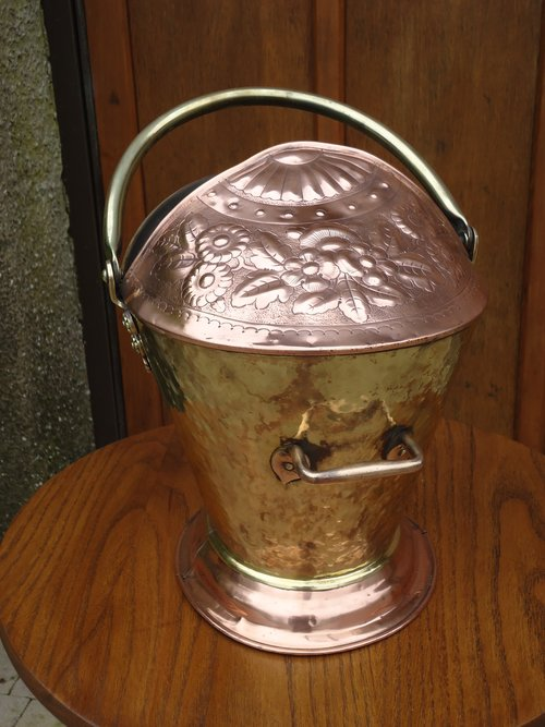 Arts & Crafts copper and brass coal bucket