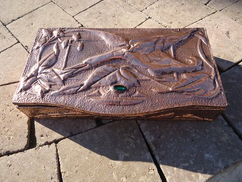 Arts & Crafts copper casket with swan and cabochon