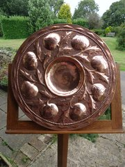 Arts & Crafts copper charger with pomegranates