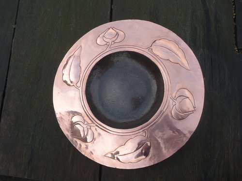 Arts & Crafts copper charger with leaves &  flower