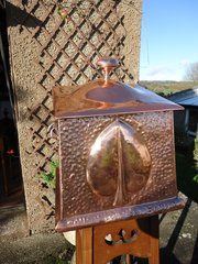 Arts & Crafts copper coal box with liner