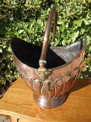 Arts & Crafts copper coal bucket,  Soutter & Sons