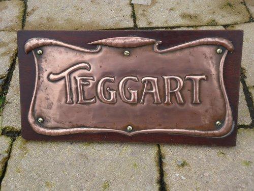 Arts & Crafts copper door plate - Teggart