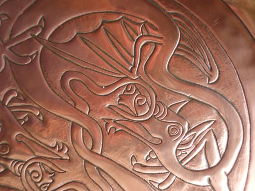 Arts & Crafts copper dragon tray.