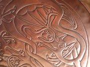 Arts & Crafts copper dragon tray.