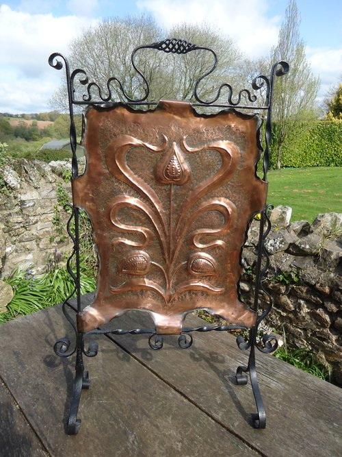 Arts & Crafts copper fire screen with hearts