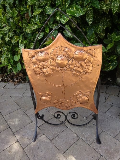 Arts & Crafts copper fire screen