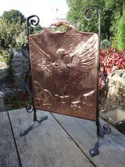 Arts & Crafts copper fire screen with eagle