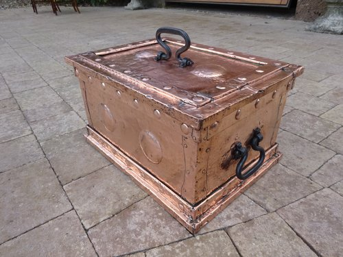 Arts & Crafts copper fireside box