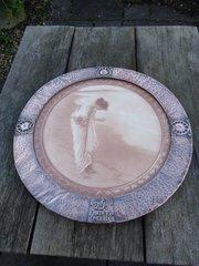 Arts & Crafts copper framed print. Shell seeker