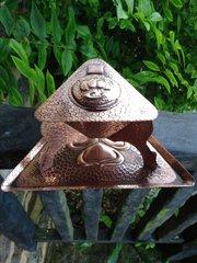 Arts & Crafts copper ink stand - F & J Pool