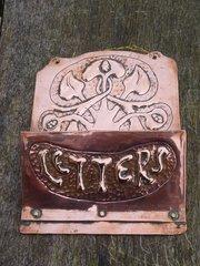 Arts & Crafts copper letter rack