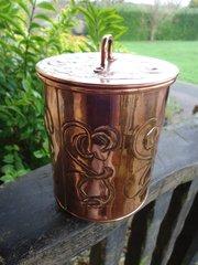 Arts & Crafts copper lidded jar for tea or tobacco