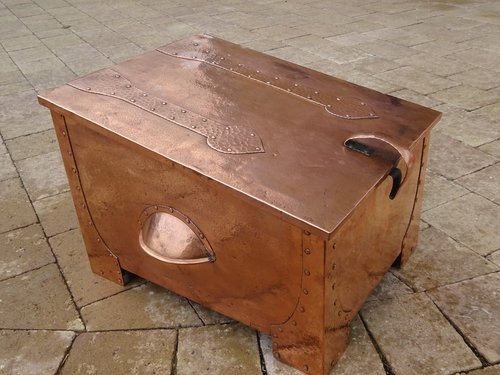 Arts & Crafts copper log box.