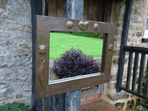 Arts & Crafts copper mirror or overmantle