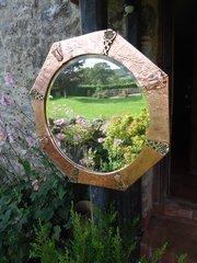 Arts & Crafts copper octagonal mirror