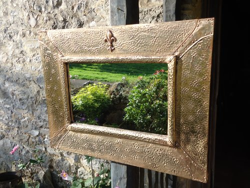 Arts & Crafts copper rectangular mirror
