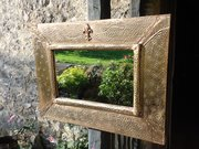 Arts & Crafts copper rectangular mirror