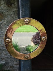 Arts & Crafts copper round mirror - Liberty