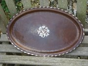 Arts & Crafts copper tray with flowers Hugh Wallis