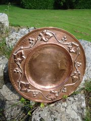 Arts & Crafts copper tray with ivy leaves