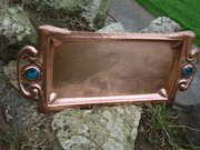 Arts & Crafts copper tray with Ruskin cabochons