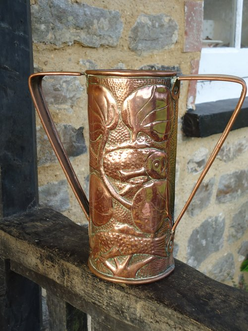 Arts & Crafts copper vase with fish. John Williams